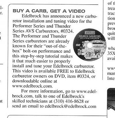 Edelbrock DVD's