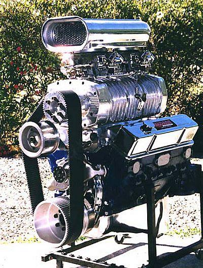 Blown small block marine engine